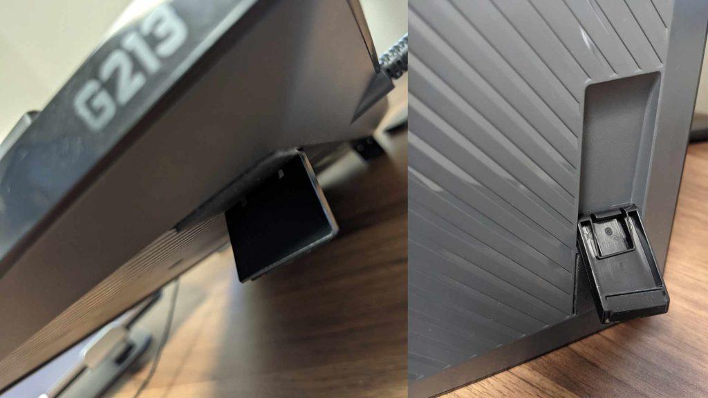 ロジクールゲーミングキーボードG213の2段階の高さ調整の画像