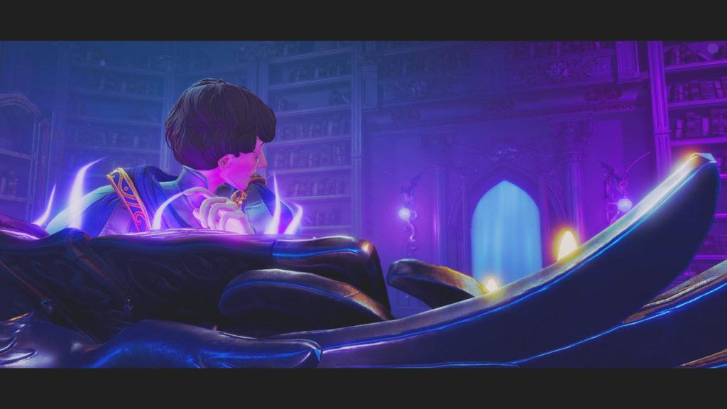Trine4:The Nightmare Princeのセリウス王子の背後から忍び寄る影