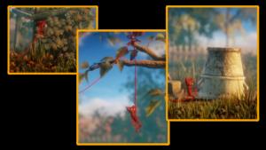 unravelの糸のぼり、壁上り、物掴みアクションの画像